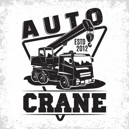 Lifting work logo design, emblem of crane machine rental organisation print stamps, constructing equipment, Heavy crane machine typographyv emblem, Vector illustration Logo