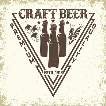 Brewery vintage logo design, craft beer emblem, grange print stamps, beerhouse typography emblem, Vector illustration