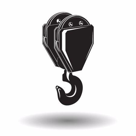 Monochrome crane hook  icon isolated on white background with shadow, lifting equipment, vector illustration Vettoriali