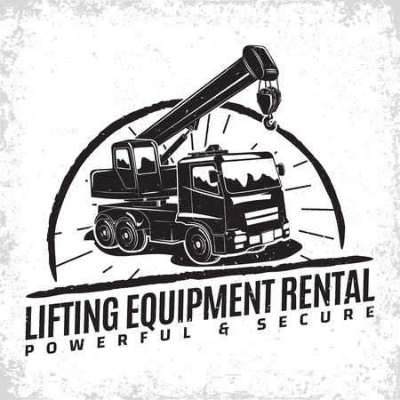 Lifting work logo design, emblem of crane machine rental organisation print stamps, constructing equipment, Heavy crane machine typographyv emblem, Vector illustration