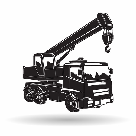 Monochrome auto crane icon isolated on white background with shadow, lifting equipment, vector Illustration