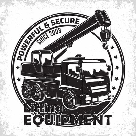 Lifting work logo design, emblem of crane machine rental organisation print stamps, constructing equipment, Heavy crane machine typographyv emblem, Vector illustration