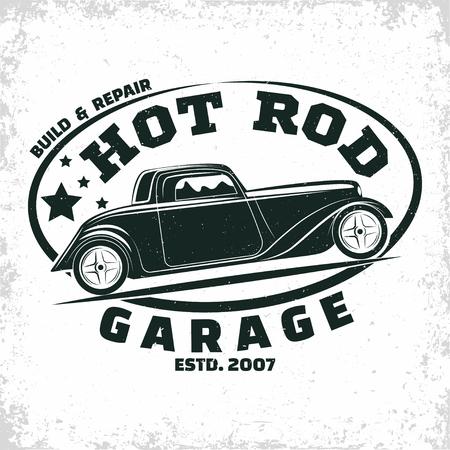 Hot Rod garage logo design, emblem of muscle car repair and service organisation, retro car garage print stamps, hot rod typography emblem, Vector Иллюстрация