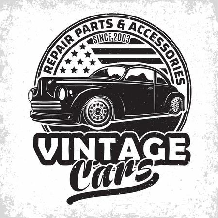 Design del logo del garage Hot Rod, emblema della riparazione e dell'organizzazione del servizio di muscle car, francobolli di stampa di garage per auto retrò, emblema di tipografia hot rod, vettore