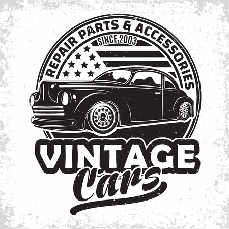 Hot Rod garage logo design, emblem of muscle car repair and service organisation, retro car garage print stamps, hot rod typography emblem, Vector Illustration