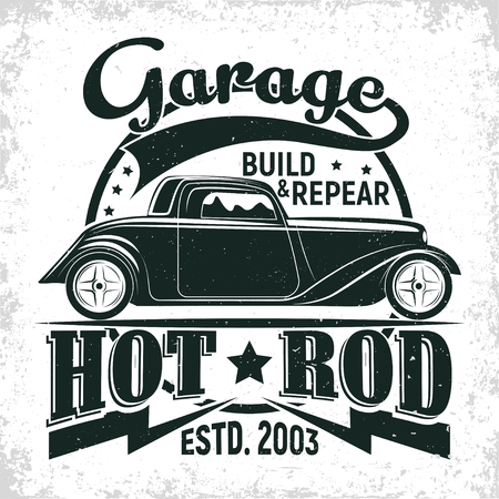 Hot Rod garage logo design, emblem of muscle car repair and service organisation, retro car garage print stamps, hot rod typography emblem, Vector