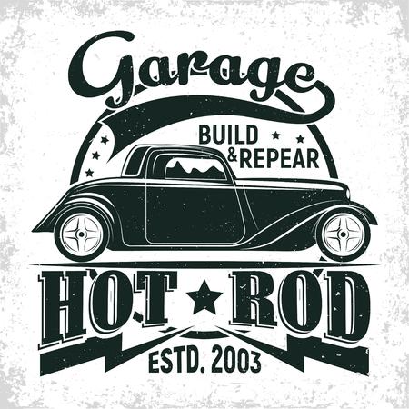 Projektowanie logo garażu Hot Rod, godło organizacji naprawy i serwisu muscle car, znaczki wydruku garażu retro, emblemat typografii hot rod, wektor Logo