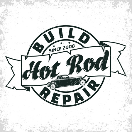 Projektowanie logo garażu Hot Rod, godło organizacji naprawy i serwisu muscle car, znaczki wydruku garażu retro, emblemat typografii hot rod, wektor