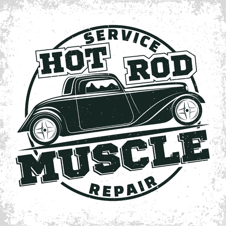 Hot Rod garage logo design, emblem of muscle car repair and service organisation, retro car garage print stamps, hot rod typography emblem, Vector Stock Illustratie
