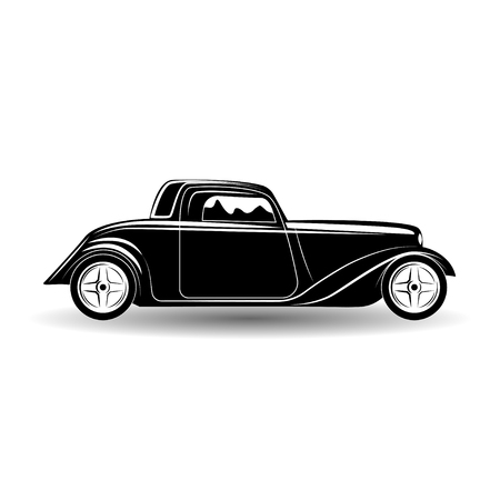 Monochrome hot rod icon isolated on white background with shadow, classic retro car emblem, vector