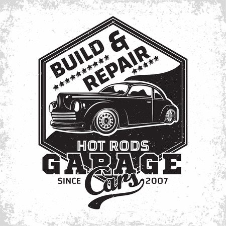Hot Rod garage logo design, emblem of muscle car repair and service organisation, retro car garage print stamps, hot rod typography emblem, Vector Ilustracja