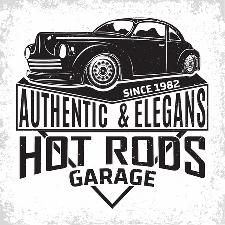 Hot Rod garage logo design, emblem of muscle car repair and service organisation, retro car garage print stamps, hot rod typography emblem, Vector Illusztráció