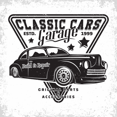 Hot Rod garage logo design, emblem of muscle car repair and service organisation, retro car garage print stamps, hot rod typography emblem, Vector Standard-Bild - 110201085