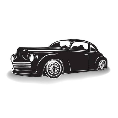 Monochrome hot rod icon isolated on white background with shadow, classic retro car emblem, vector Illustration