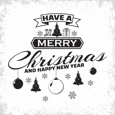 Vintage Merry Christmas And Happy New Year calligraphic and typographic,  winter holidays related typographic quote, lettering template usable for banners, greeting cards, gifts etc, vector