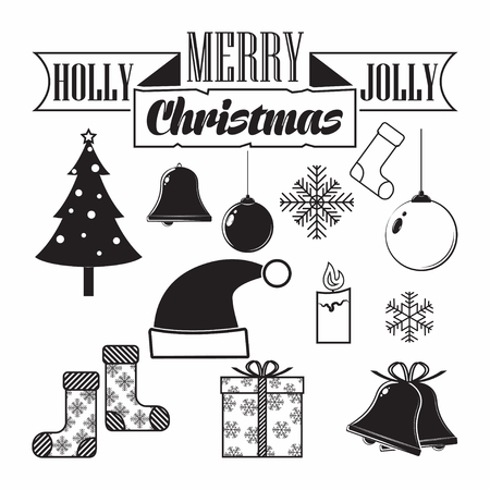 Set of elements for vintage Christmas hollidays invitation, poster or banner design, monochrome icons isolated on white background, vector