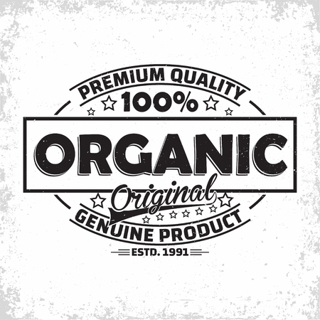 Organic products vintage label design, natural products  emblem, grange print stamp, organic productions typography emblem, Vector Фото со стока - 123817567