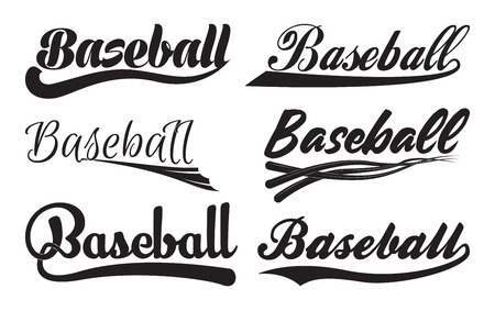 Set of Inscriptiosn Baseball with swoosh, Sport Swooshes set, Underline Swishes tail collection, highlighter marker strokes, Swashes for Baseball Typography T-shirt, Retro Swoop wave line, Vector Ilustrace