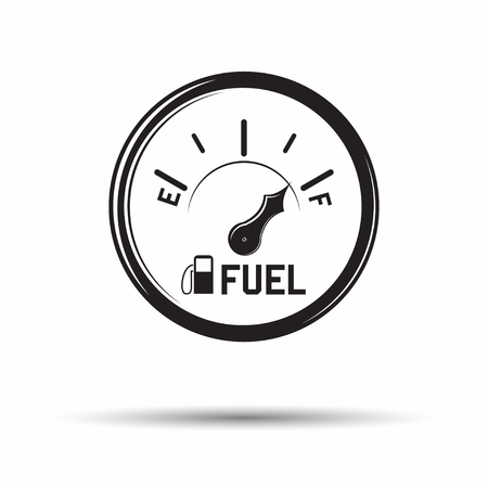Monochrome fuel gauge icon, sign of diesel or petrol gauge for car isolated on white background with shadow, vector Illustration