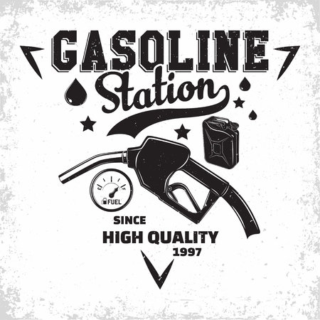 Vintage Petrol station logo design, emblem of gasoline station, Gas or diesel filling station typographyv emblem, print stamps with easy removable grange, Vector Stock Illustratie