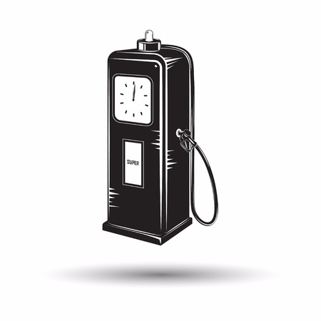 Monochrome retro fuel station icon, diesel or petrol station sign, filling station  isolated on white background with shadow, vector