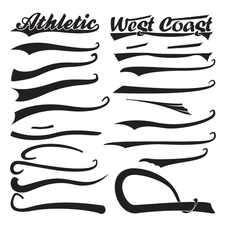 Set of swooshes, Sport Underline Swishes tail collection, highlighter marker strokes, Swashes for Typography T-shirt, Retro Swoop wave line, Vector