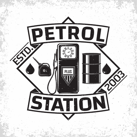 Vintage Petrol station logo design, emblem of gasoline station, Gas or diesel filling station typographyv emblem, print stamps with easy removable grange, Vector Ilustrace