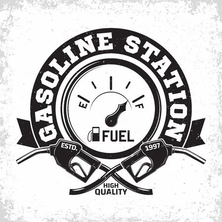 ヴィンテージガソリンスタンドのロゴデザイン、ガソリンスタンドのエンブレム、ガスまたはディーゼル充填ステーションタイポグラフィエンブレム、簡単に取り外し可能なグランジ、ベクトルと印刷スタンプ