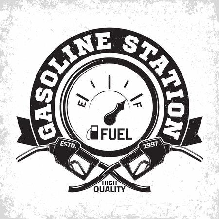 Vintage Petrol station logo design, emblem of gasoline station, Gas or diesel filling station typographyv emblem, print stamps with easy removable grange, Vector Иллюстрация