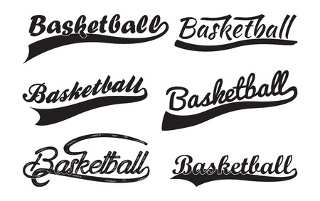 Set of Inscriptiosn Basketballl with swoosh, Sport Swooshes set, Underline Swishes tail collection, highlighter marker strokes, Swashes for Basketball Typography T-shirt, Retro Swoop wave line, Vector