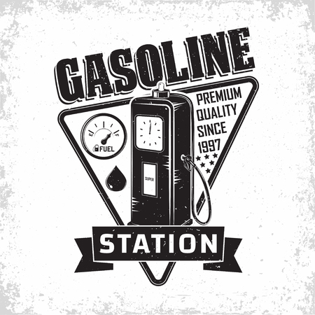 Vintage Petrol station logo design, emblem of gasoline station, Gas or diesel filling station typographyv emblem, print stamps with easy removable grange, Vector Stockfoto