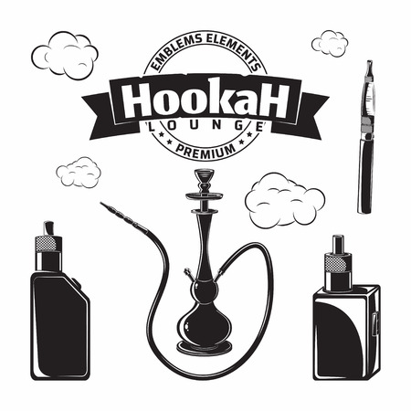 Set of elements for vintage hookah lounge or shop, vape bar or house emblem design, monochrome icons isolated on white background, vector 스톡 콘텐츠 - 123818118