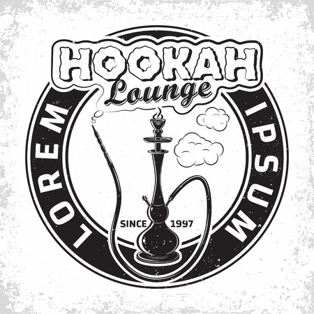 Vintage Hookah lounge design, emblem of hookah club or house, monochrome typography emblem, print stamps with easy removable grange, Vector
