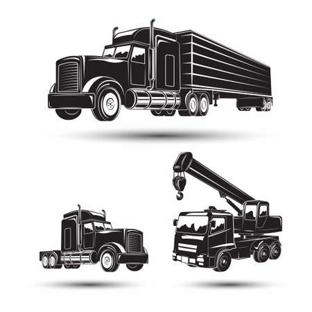 Set of heavy building machines, truck and auto crane, monochrome  icons of machines isolated on white background, vector