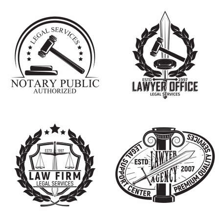 Set of Law firm emblems design, emblems of lawyer agency or notary, vintage court typography emblems, Vector