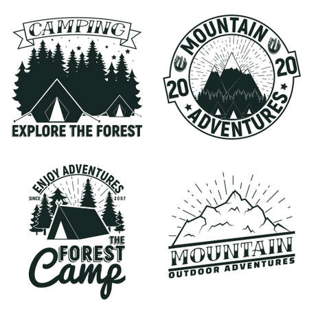Set of Vintage camping or tourism  designs,  grange print stamps, creative typography emblems, Vector