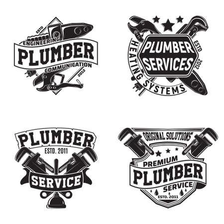 vintage plumber emblem design Stock Illustratie