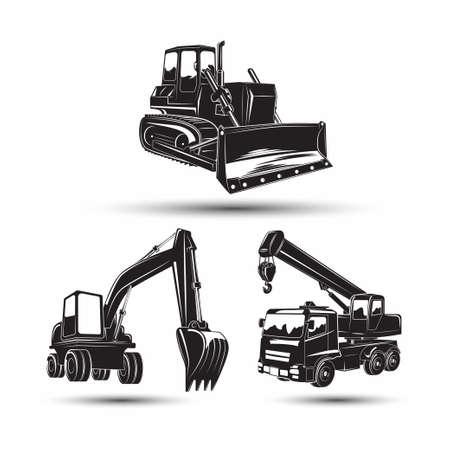 Set of heavy building machines Stock Illustratie