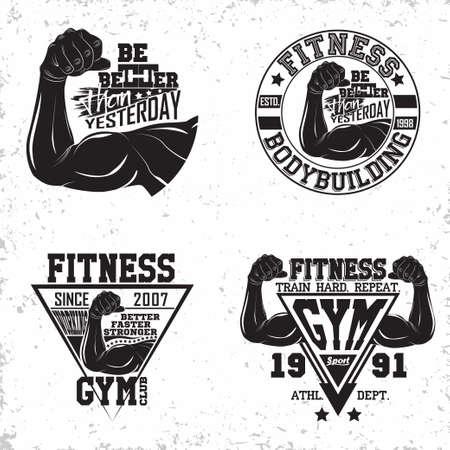vintage fitness emblem design Stock Illustratie