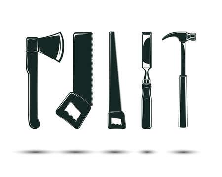 woodworking tools set Stock Illustratie