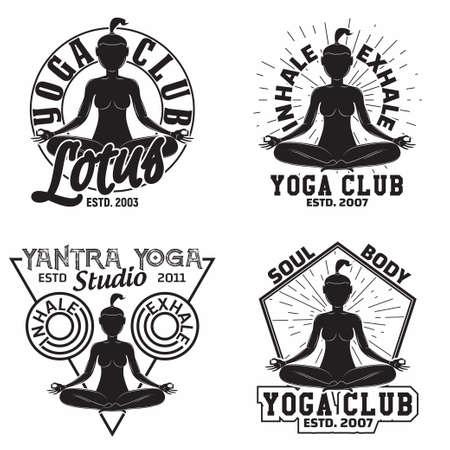 vintage yoga emblem design