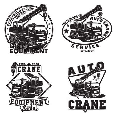 Lifting work emblems designs, emblems of crane machine rental organization print stamps, constructing equipment, Heavy crane machine typographyv emblems, Vector