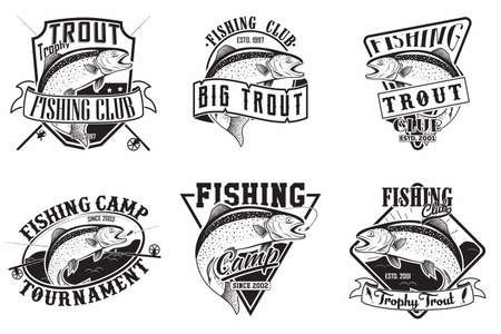Set of Fishing club vintage emblems designs, emblems of the trout fishermen, grange print stamps, fisher typography emblems, Vector