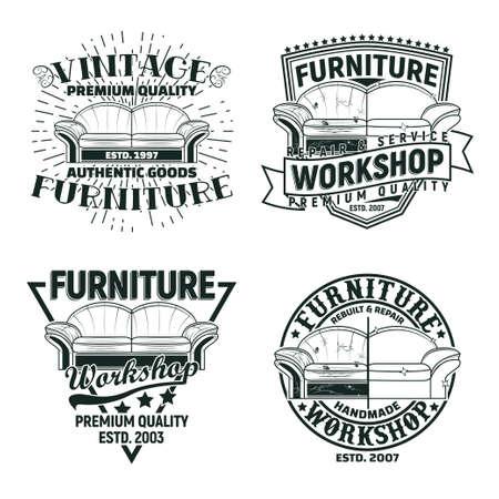 Set of Vintage furniture workshop emblems designs, workshop grange print stamps, furniture repair shop creative typography emblems, Vector