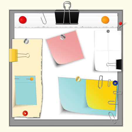 Set of torn paper banners and stickers, different colors and forms, with office supplies and pins, vector Stock Illustratie