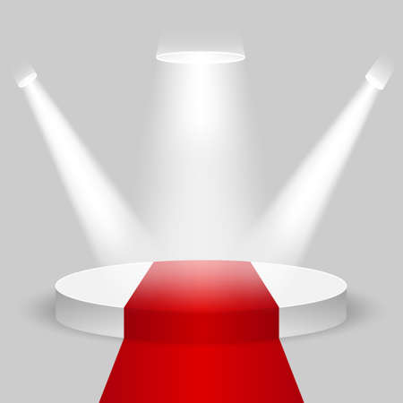 Realistic contest stage, empty white podium with red carpet, place for product placement for presentation, winner podium or stage on gray background, vector