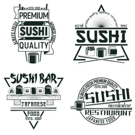Set of Vintage sushi bar  designs, grange print stamps, creative Japanese food typography emblems, Vector Vettoriali
