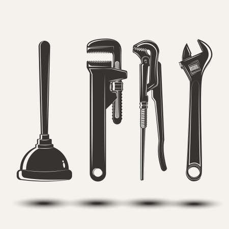 Set for vintage emblem design with monochrome signs of pipe wrenches and plunger, elements for plumber   design, isolated on white background, vector