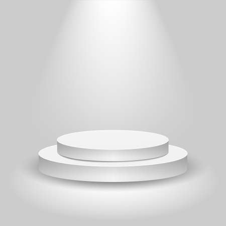 Realistic contest stage, empty white podium, place for product placement for presentation, winner podium or stage on gray background, vector Stock Illustratie