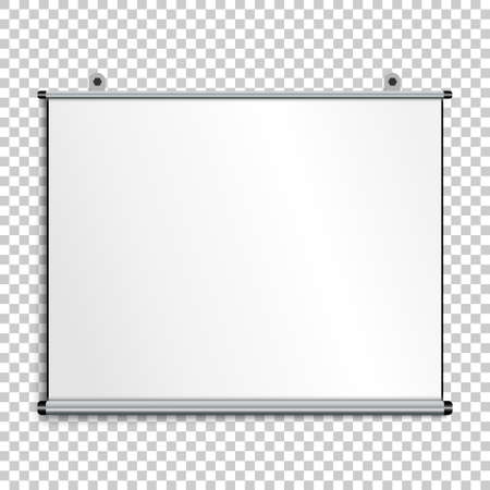 Blank presentation screen, whiteboard on gray background, vector